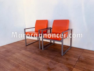 Ensemble fauteuil simili-cuir Orange
